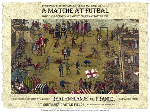 FREE FOR YOUR COMPUTER SCREEN - Historic Tudor Football Poster –  April 1, 1545 - UNKNOWN ARTIST
