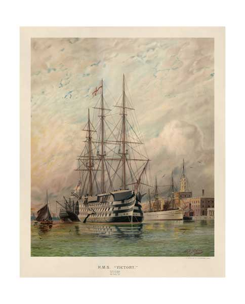HMS Victory off Semaphore Tower alongside  HM Troopship Serapis  - PRINT - ATKINS, W.E.