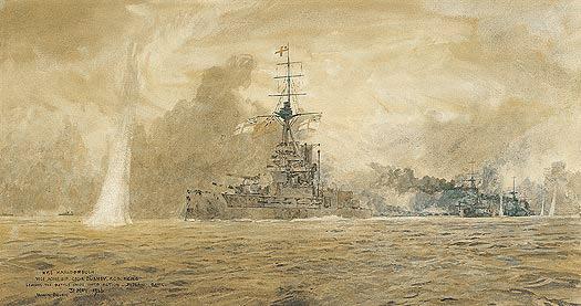 HMS Marlborough going into action at Jutland - BEVAN, Irwin