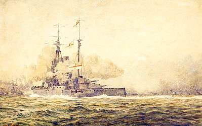 HMS Warspite in action at Jutland, 31st May 1916 - BEVAN, Irwin