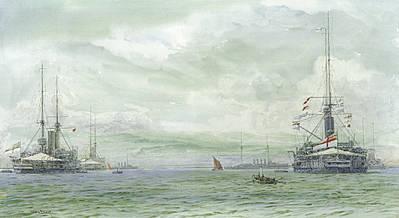 King Edward VII Class Battleships at Sheerness C.1907 - BEVAN, Irwin