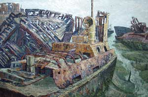 Low Tide at Pounds Yard, Portsmouth - CAINS, Gerald