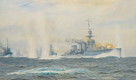 HMS Cardiff in action in the Heligoland Bight, 1917 ... PRINT 430mm x 255mm - CULL, Alma Burton