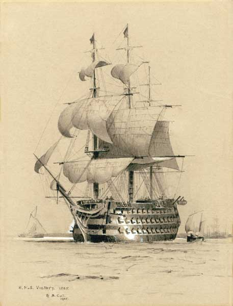 HMS Victory 1805 - PRINT - CULL, Alma Burton