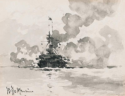 London Class Battleship believed to be HMS Prince of Wales - DE MARTINO, Eduardo