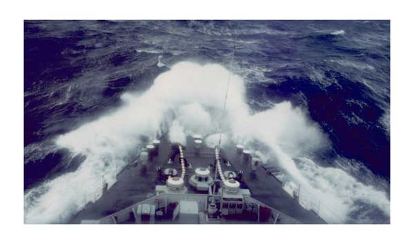 HMS Fearless in an Atlantic Hurricane, 1982 - DUNLOP, Peter