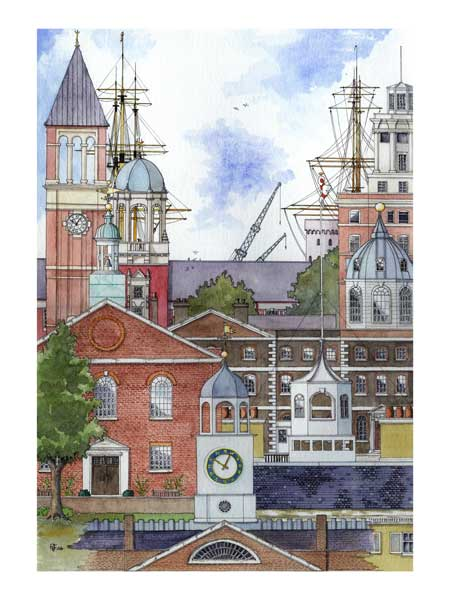 The Clocks & Towers of HM Naval Base at Portsmouth Historic Dockyard, England - PRINT - FERRY, Robert