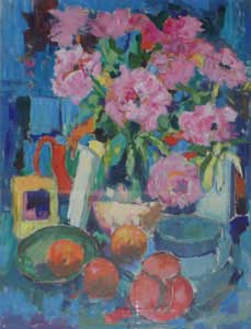 Camelias and Red Jug - FLOWER, Rosina