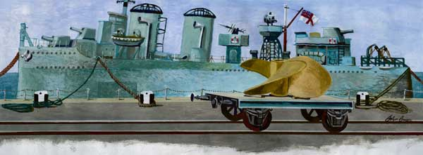 Destroyer in Portsmouth Dockyard 1944 - PRINT - GREEN, John