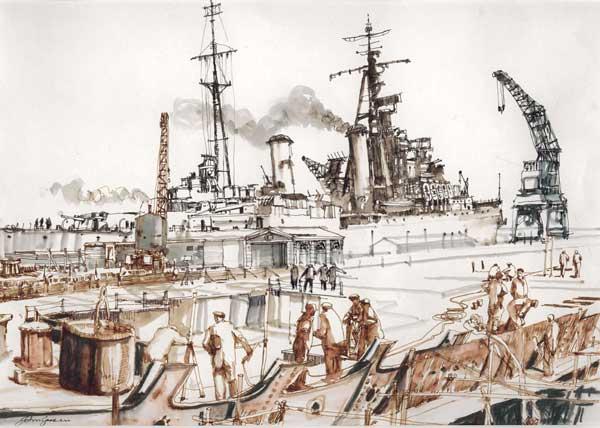 [GREEN, John] Dockyard With Cruiser, 1950s - PRINT - GREEN, John