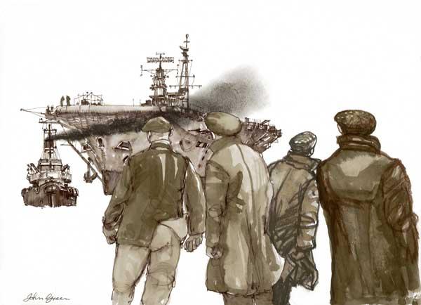 Dockyard Workers - PRINT - GREEN, John