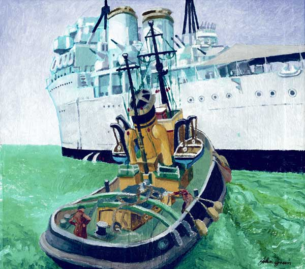 Old Steam Tug with HMS Jamaica - GREEN, John
