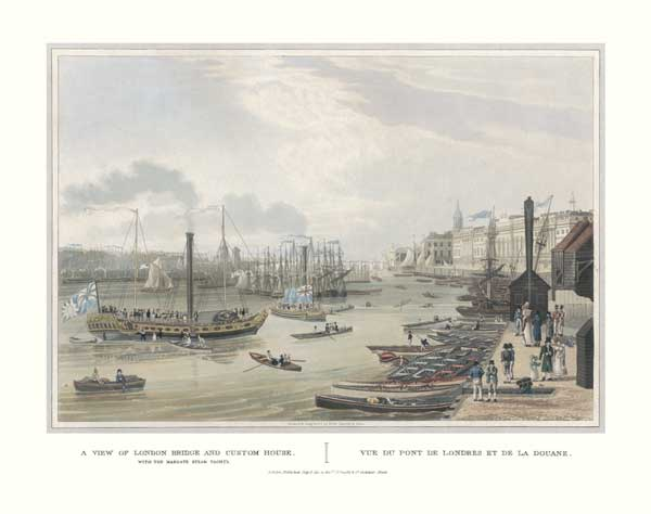 A View of London Bridge and Custom House - HAVELL, Robert