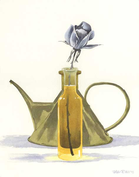 Stainless Steel Rose in a Vase of Oil - HILL, Peter
