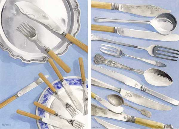 Still Life With Tray & Still Life With Silverware - Pair - HILL, Peter