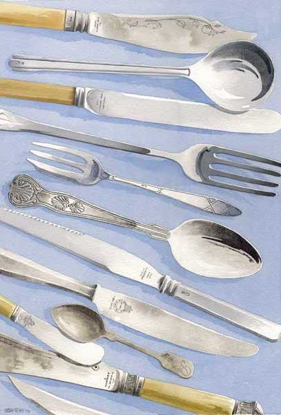 Still Life With Silverware - HILL, Peter