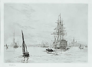 HMS Victory Afloat in Portsmouth with HM Yacht Alberta - WYLLIE, William Lionel