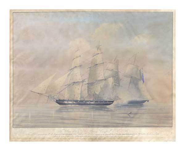 HMS Buzzard engaging Spanish slave ship El Formidable - HUGGINS, William John
