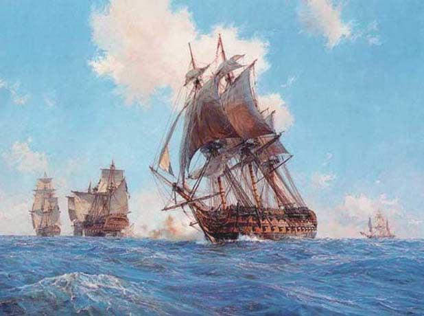 Agamemnon Opens Fire on the Ca Ira, 13th March 1795 - HUNT, Geoff