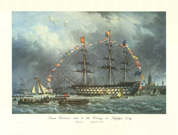 Queen Victoria Visiting HMS Victory on Trafalgar Day, 21st October 1844 - PRINT - JOY, William