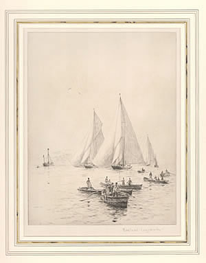 Britannia, Shamrock and Cambria in the Solent - LANGMAID, Rowland