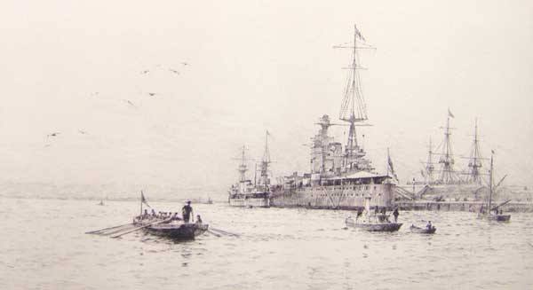 HM Ships Victory and Nelson, Portsmouth Harbour - LANGMAID, Rowland