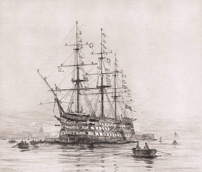 HMS Victory on Trafalgar Day - LANGMAID, Rowland