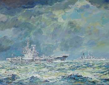 HMS Hermes and a Destroyer - Falklands War, South Atlantic, 1982 - MILLER, Robin