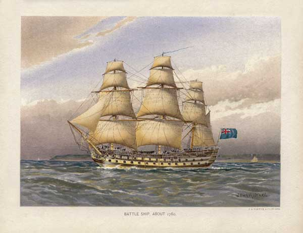 Battleship about 1760 - MITCHELL, W.F.