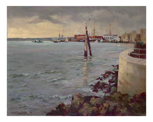 Portsmouth Harbour with Ark Royal - CARD - RICHARDSON, Peter