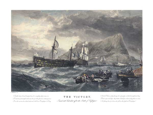 The Victory Towed into Gibraltar After the Battle of Trafalgar - PRINT - STANFIELD, Clarkson