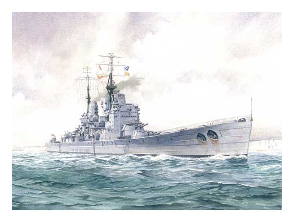 HMS Vanguard, the Last British Battleship - PRINT - WIGSTON, John