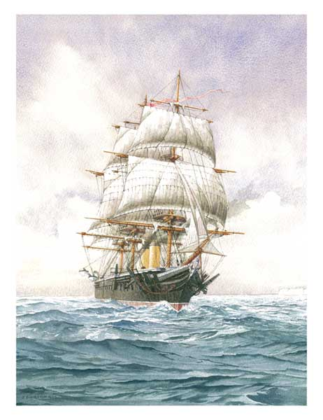 Under Sail � HMS Warrior, the First Battleship - PRINT - WIGSTON, John