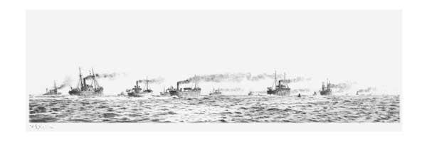 Convoy Under Steam - ORIGINAL - WYLLIE, William Lionel