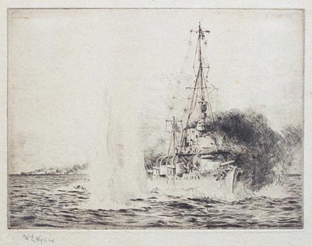 HMS Chester in Action with 3 German Light Cruisers, 31st May 1916 - WYLLIE, William Lionel