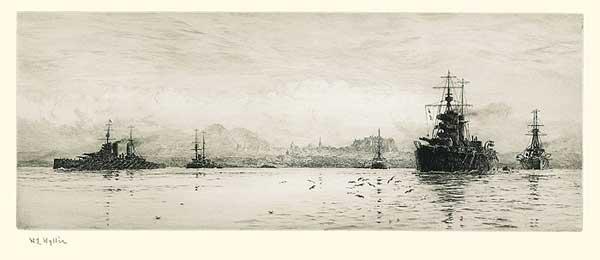 HMS Lion and HMS Princess Royal - The Battlecruiser's Lair - Beatty's Ship off Edinburgh - WYLLIE, William Lionel