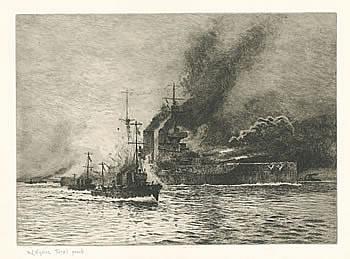 HMS Queen Elizabeth at the Time of the Dardanelles - WYLLIE, William Lionel