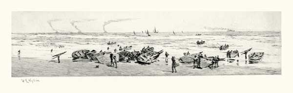 Sheringham Beach Boats Bringing in the Catch - ORIGINAL - WYLLIE, William Lionel