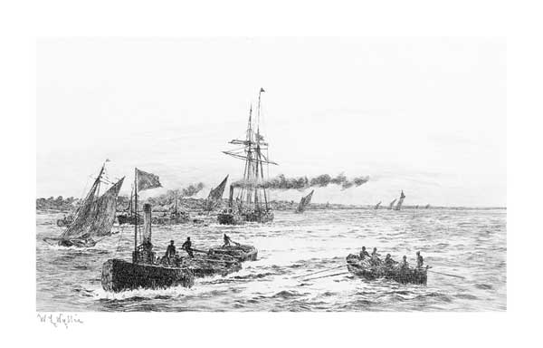 Tug Towing Lighters on the Thames - PRINT - WYLLIE, William Lionel