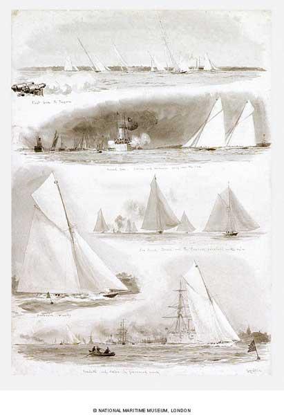 Yacht Racing in Gravesend Reach - WYLLIE, William Lionel